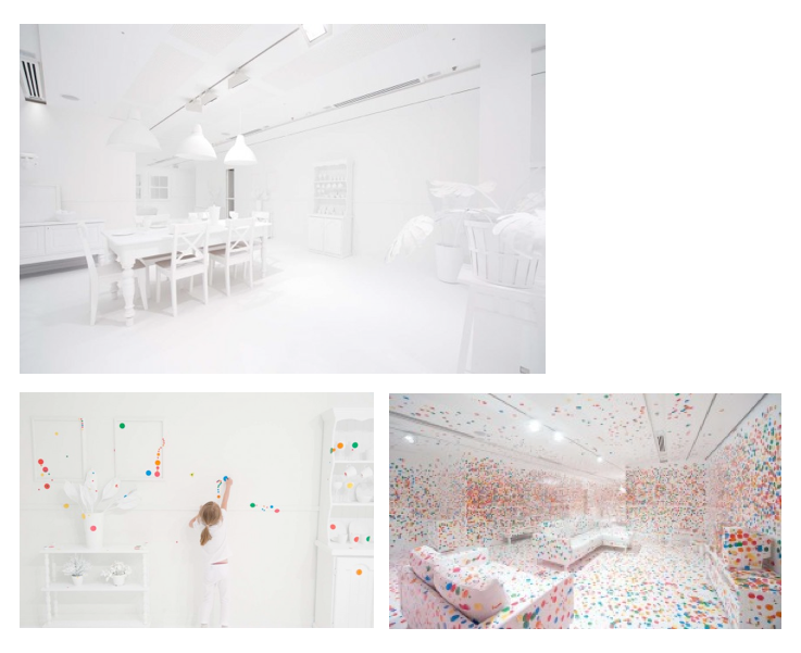Yayoi Kusamas Obliteration Room mit Stickern in Queensland