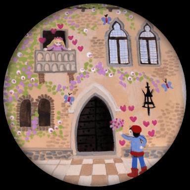 Hochzeitsbuttons romantisch souvenir gezeichnet