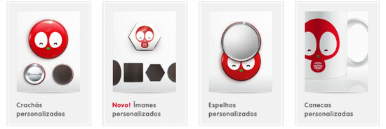 produtos camaloon crachás ímanes canecas personalizadas