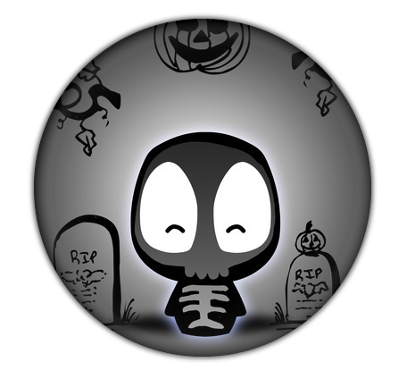 Halloween Button with Camaloon sceleton